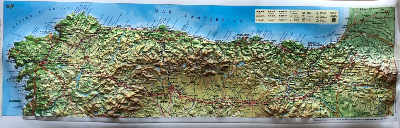 mapa relevo caminho de santiago